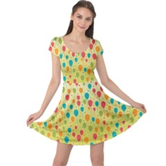 Colorful Balloons Backlground Cap Sleeve Dresses