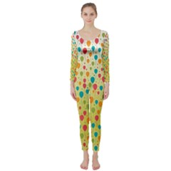 Colorful Balloons Backlground Long Sleeve Catsuit