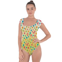 Colorful Balloons Backlground Short Sleeve Leotard (ladies)