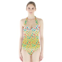 Colorful Balloons Backlground Women s Halter One Piece Swimsuit