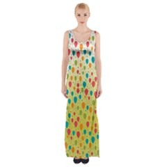 Colorful Balloons Backlground Maxi Thigh Split Dress