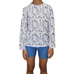 Hand Painted Floral Pattern Kid s Long Sleeve Swimwear