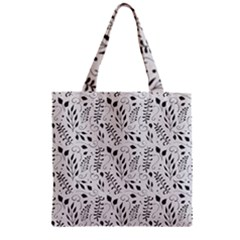 Hand Painted Floral Pattern Zipper Grocery Tote Bag