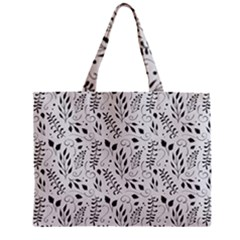 Hand Painted Floral Pattern Zipper Mini Tote Bag