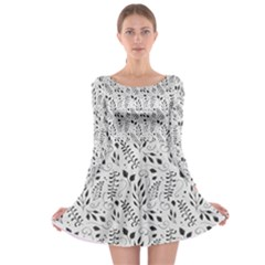 Hand Painted Floral Pattern Long Sleeve Skater Dress