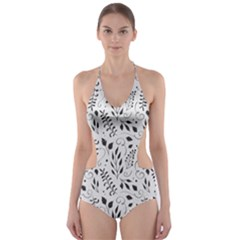 Hand Painted Floral Pattern Cut-Out One Piece Swimsuit