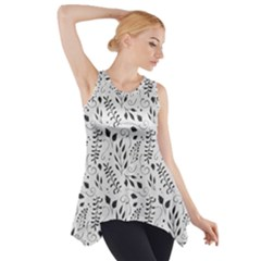 Hand Painted Floral Pattern Side Drop Tank Tunic