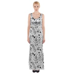 Hand Painted Floral Pattern Maxi Thigh Split Dress