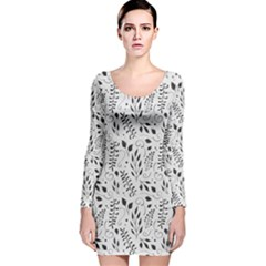 Hand Painted Floral Pattern Long Sleeve Velvet Bodycon Dress