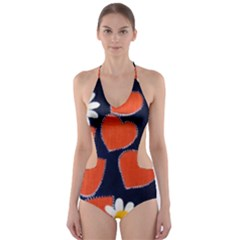 1960s Dasies And Hearts Collage Cut Out One Piece Swimsuit