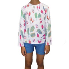 Hand Drawn Flowers Background Kid s Long Sleeve Swimwear