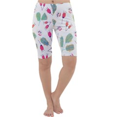 Hand Drawn Flowers Background Cropped Leggings