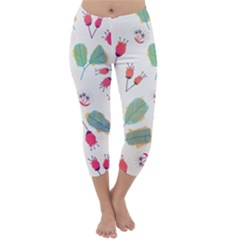 Hand Drawn Flowers Background Capri Winter Leggings