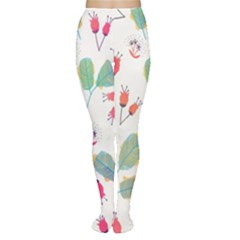 Hand Drawn Flowers Background Women s Tights