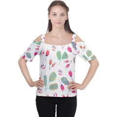 Hand Drawn Flowers Background Women s Cutout Shoulder Tee