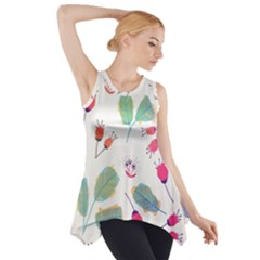 Hand Drawn Flowers Background Side Drop Tank Tunic