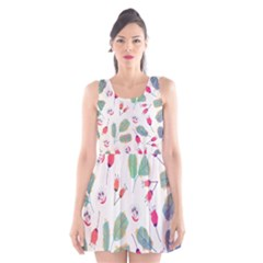 Hand Drawn Flowers Background Scoop Neck Skater Dress