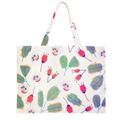 Hand Drawn Flowers Background Large Tote Bag