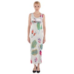 Hand Drawn Flowers Background Fitted Maxi Dress