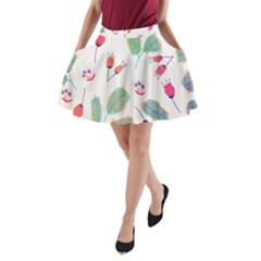 Hand Drawn Flowers Background A-Line Pocket Skirt