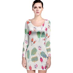 Hand Drawn Flowers Background Long Sleeve Velvet Bodycon Dress