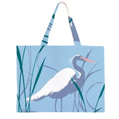Egret Zipper Large Tote Bag