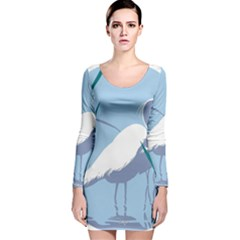 Egret Long Sleeve Velvet Bodycon Dress