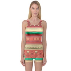 Hand Drawn Ethnic Shapes Pattern One Piece Boyleg Swimsuit