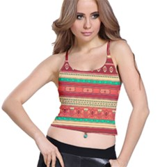 Hand Drawn Ethnic Shapes Pattern Spaghetti Strap Bra Top