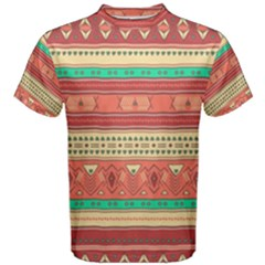 Hand Drawn Ethnic Shapes Pattern Men s Cotton Tee