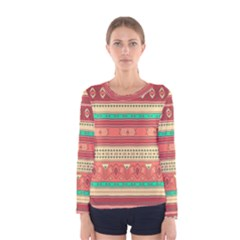Hand Drawn Ethnic Shapes Pattern Women s Long Sleeve Tee