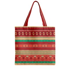 Hand Drawn Ethnic Shapes Pattern Zipper Grocery Tote Bag