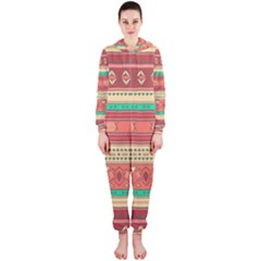 Hand Drawn Ethnic Shapes Pattern Hooded Jumpsuit (Ladies)