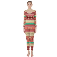 Hand Drawn Ethnic Shapes Pattern Long Sleeve Catsuit