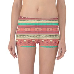 Hand Drawn Ethnic Shapes Pattern Reversible Boyleg Bikini Bottoms