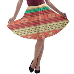 Hand Drawn Ethnic Shapes Pattern A Line Skater Skirt