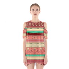 Hand Drawn Ethnic Shapes Pattern Cutout Shoulder Dress