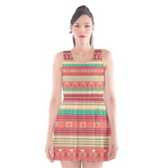 Hand Drawn Ethnic Shapes Pattern Scoop Neck Skater Dress
