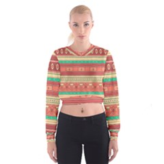 Hand Drawn Ethnic Shapes Pattern Women s Cropped Sweatshirt