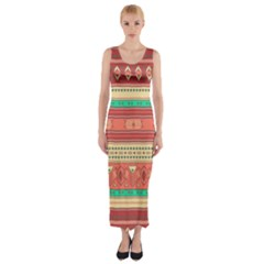 Hand Drawn Ethnic Shapes Pattern Fitted Maxi Dress