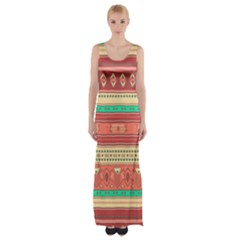 Hand Drawn Ethnic Shapes Pattern Maxi Thigh Split Dress