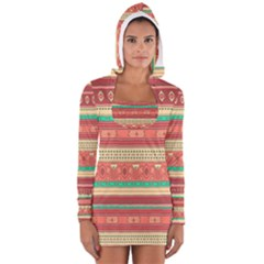 Hand Drawn Ethnic Shapes Pattern Women s Long Sleeve Hooded T Shirt