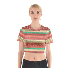 Hand Drawn Ethnic Shapes Pattern Cotton Crop Top