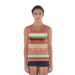 Hand Drawn Ethnic Shapes Pattern Tops