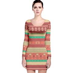 Hand Drawn Ethnic Shapes Pattern Long Sleeve Velvet Bodycon Dress