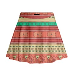 Hand Drawn Ethnic Shapes Pattern Mini Flare Skirt