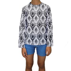 Hand Painted Black Ethnic Pattern Kid s Long Sleeve Swimwear