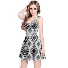 Hand Painted Black Ethnic Pattern Reversible Sleeveless Dress