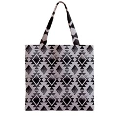 Hand Painted Black Ethnic Pattern Grocery Tote Bag