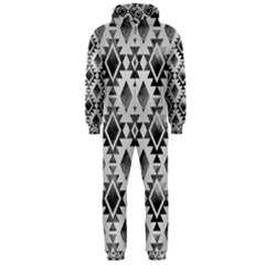 Hand Painted Black Ethnic Pattern Hooded Jumpsuit (Men)
